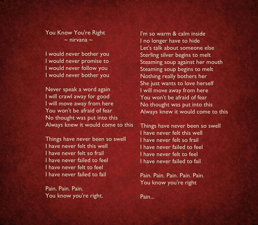 You know are right lyrics