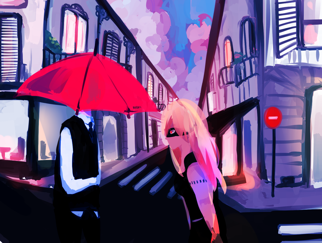 Red Umbrella by OishiiAishii