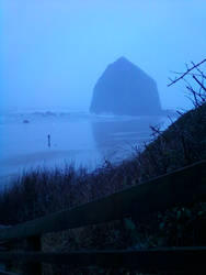 Rainy day at Haystack Rock by Life-Flux