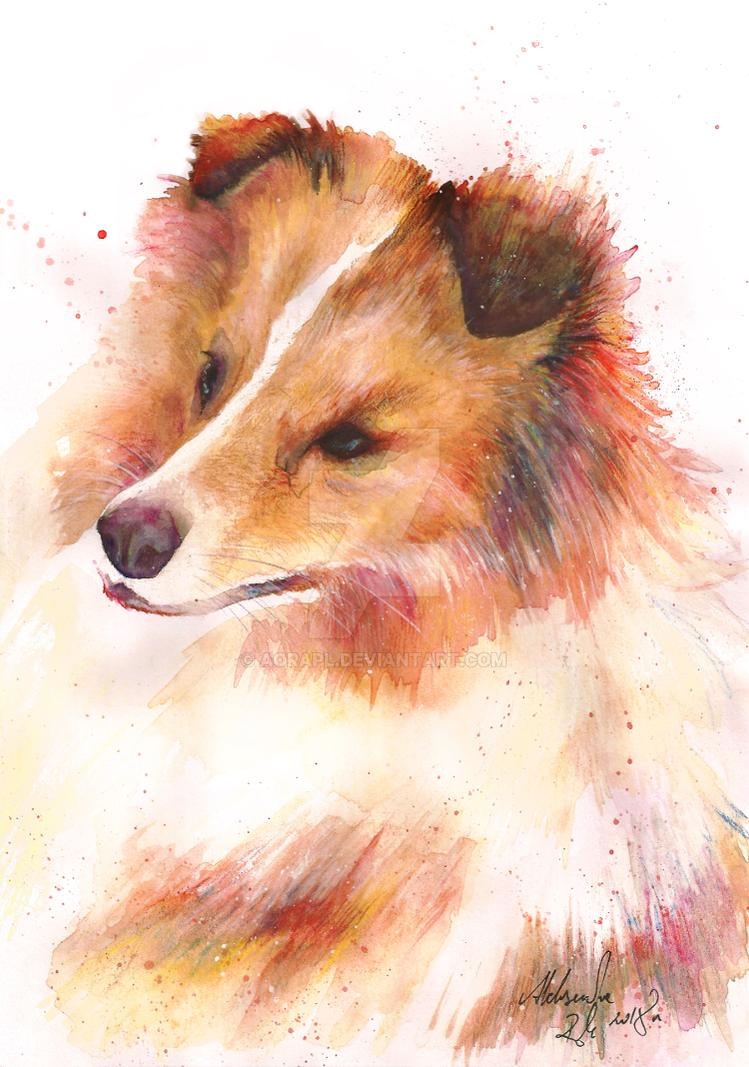 Waterpaint_Dog by AoraPL
