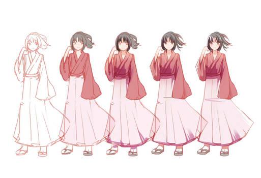 Drawing Steps - Chizuru Yukimura