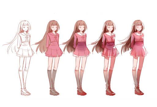Drawing Steps - Tamaki Kasuga