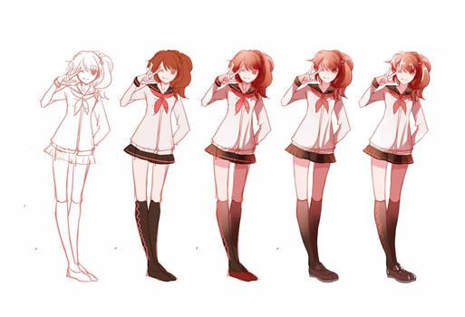 Drawing Steps - Ema Hinata