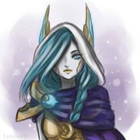 Xayah Cosmic Dusk by Lunnaryart