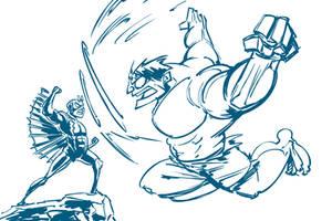DSC: Hulk vs Black Bolt by SkipperWing