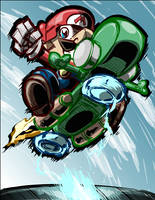 Fan Art (Mario Kart 8): Mario and the Yoshi Bike! by SkipperWing