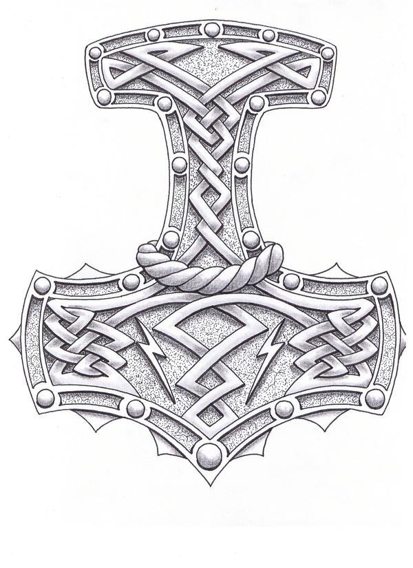 Thor Hammer Tattoo Drawing Designs