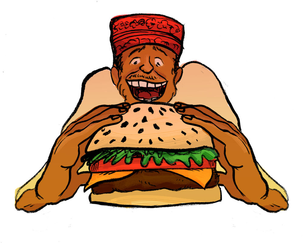 Eating a Hamburger - Editorial Illustration by ungoth
