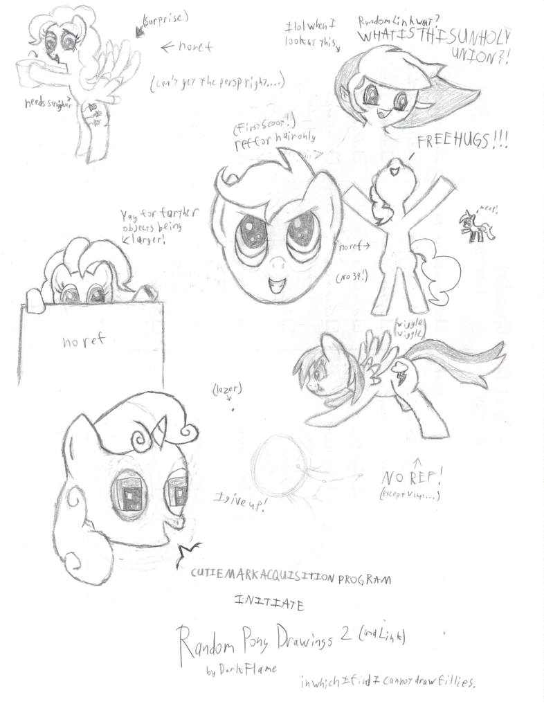 Random Pony Drawings 2 + Link by DarkFlame75