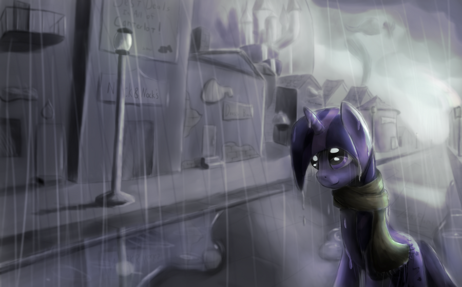 First Rain in Canterlot by DarkFlame75