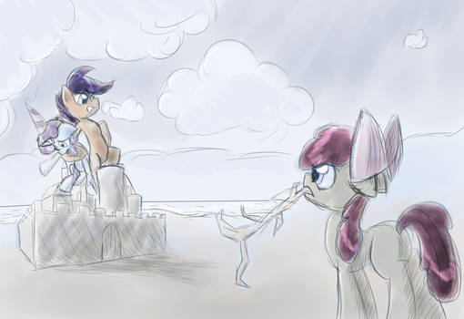 The Cutie Mark Crusaders at the beach