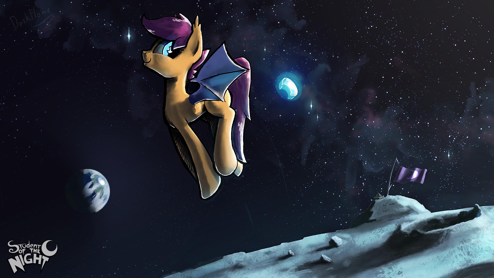 scootabat on the moon sotn 4k follower wallpaper by