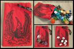Multi-Purpose Handprinted Phoenix Fabric Bag