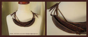 Leather New Zealand Fantail Feather Necklace