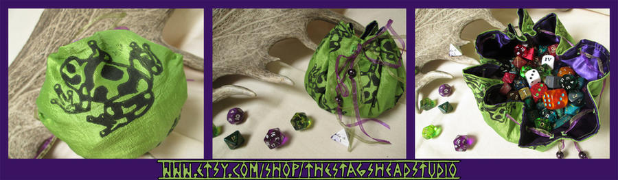 Taffeta Frog Pouch for Dice, Coins, Runes etc by ImogenSmid