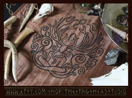 Cernunnos Altar Cloth: Celtic Pagan Horned God by ImogenSmid