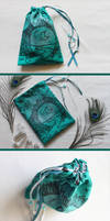 Silver and Teal Moon Gate Pouch: Tarot, Dice Runes