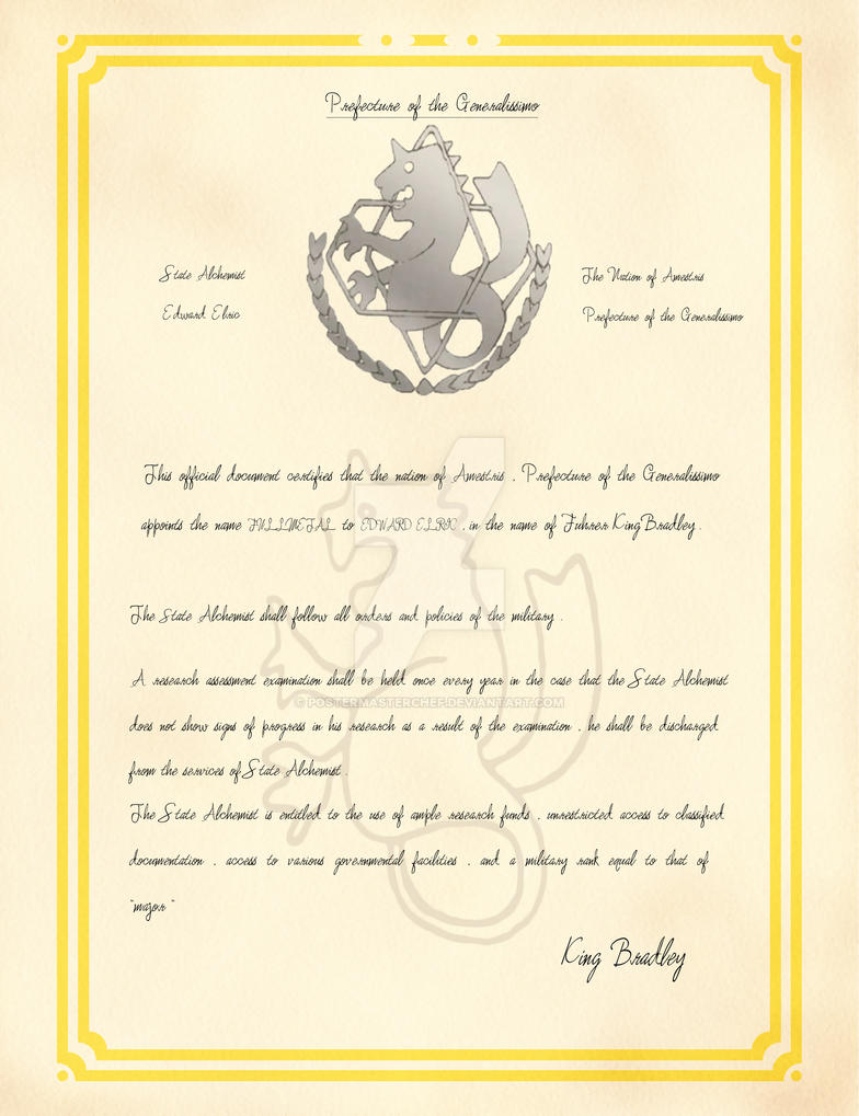 Elric certificate by postermasterchef on deviantart elric certificate by postermasterchef yadclub Choice Image