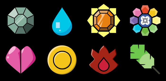 Recreation: Let's Go Pikachu/Eevee Kanto badges