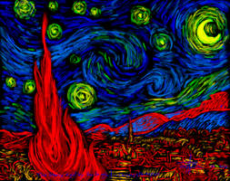 Starry Night by Van Gogh in Chromostereopsis