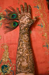 Radha Krishna Bridal Henna Design by chandni-mehndi