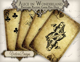 Printable Grunge Alice in Wonderland Playing Cards by VectoriaDesigns