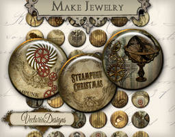 Steampunk Christmas circles by VectoriaDesigns