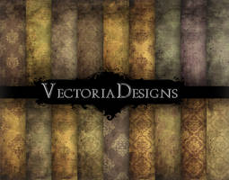 Grunge Damask Digital Papers by VectoriaDesigns