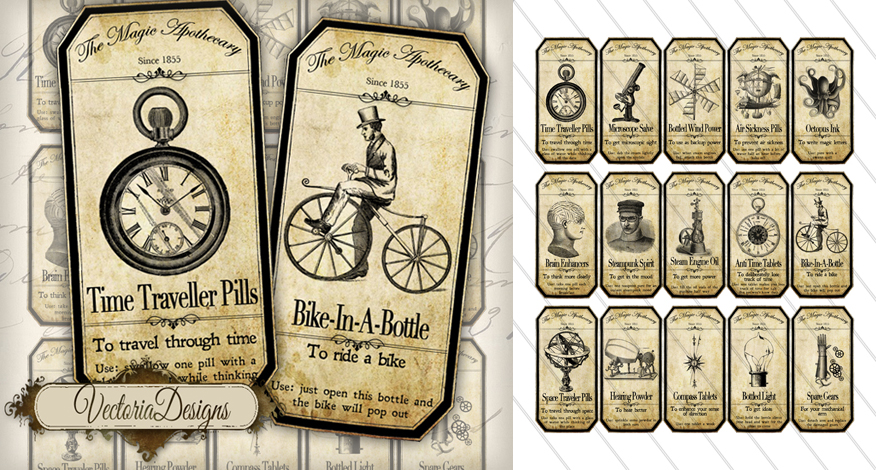 Printable Steampunk Apothecary Labels by VectoriaDesigns