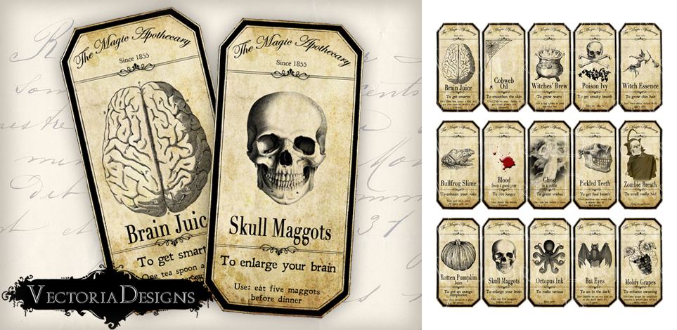ApotheSCARY Labels--Scary Apothecary Labels--Halloween Appliques