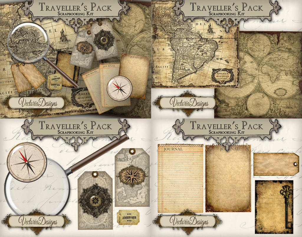 Traveller's Digital Scrapbooking Kit by VectoriaDesigns