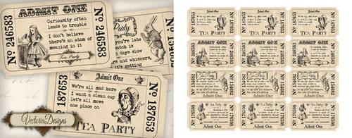 Alice in Wonderland Tea Party Invitation Tickets by VectoriaDesigns