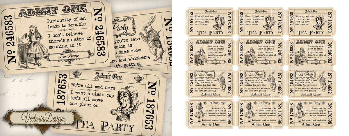 Alice in Wonderland Tea Party Invitation Tickets by ...