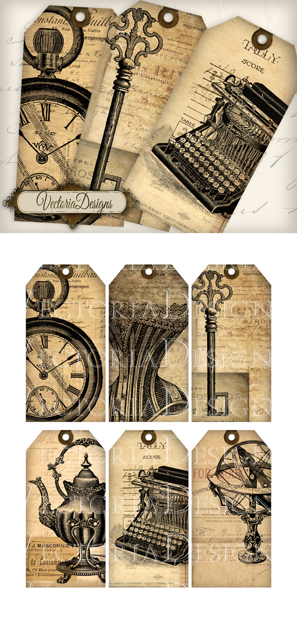 Printable Vintage Ephemera Tags by VectoriaDesigns