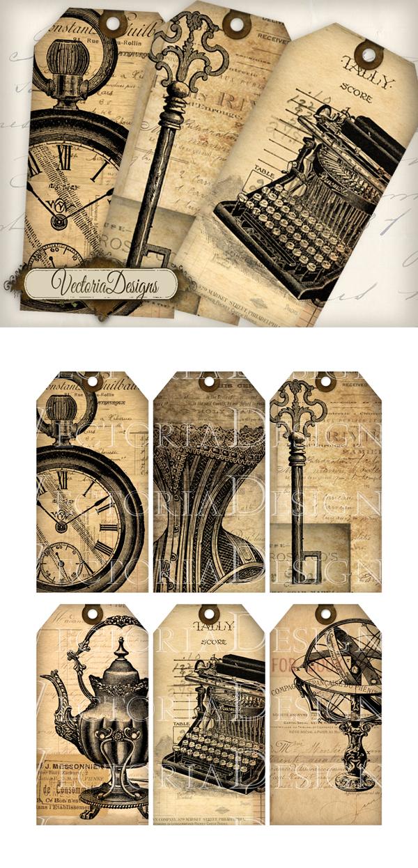 Printable Vintage Ephemera Tags by VectoriaDesigns