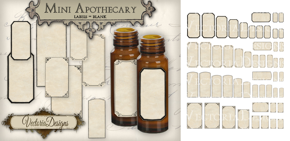 printable mini blank apothecary labels by vectoriadesigns on deviantart. Black Bedroom Furniture Sets. Home Design Ideas