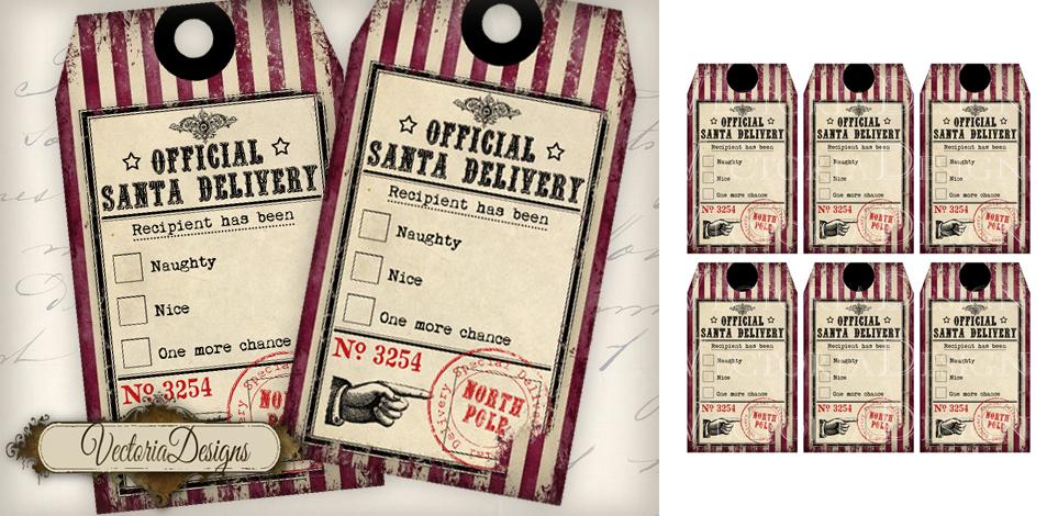 Nice Tag: Naughty And Nice Christmas Gift Tags By VectoriaDesigns On