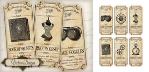Steampunk Shoppe Labels by VectoriaDesigns
