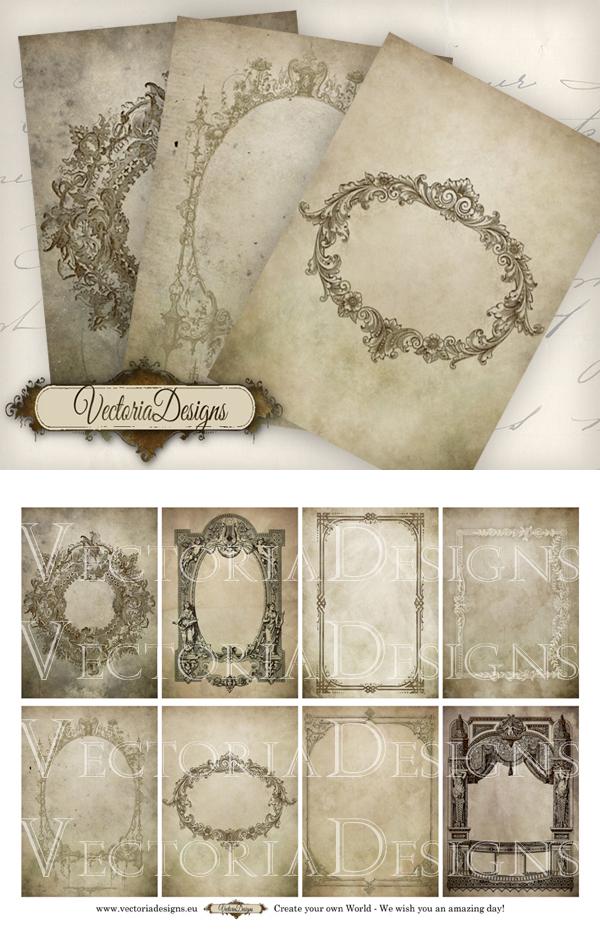 Printable Antique Frames ATC by VectoriaDesigns
