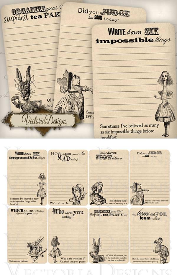 Printable Alice in Wonderland Journaling Cards by VectoriaDesigns