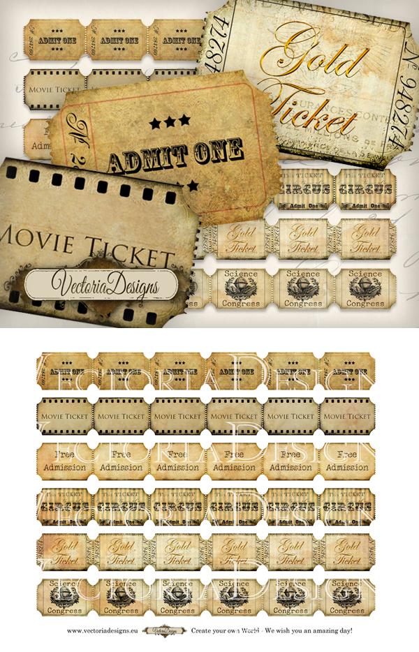 Printable Vintage Ticket Strips By Vectoriadesigns On Deviantart