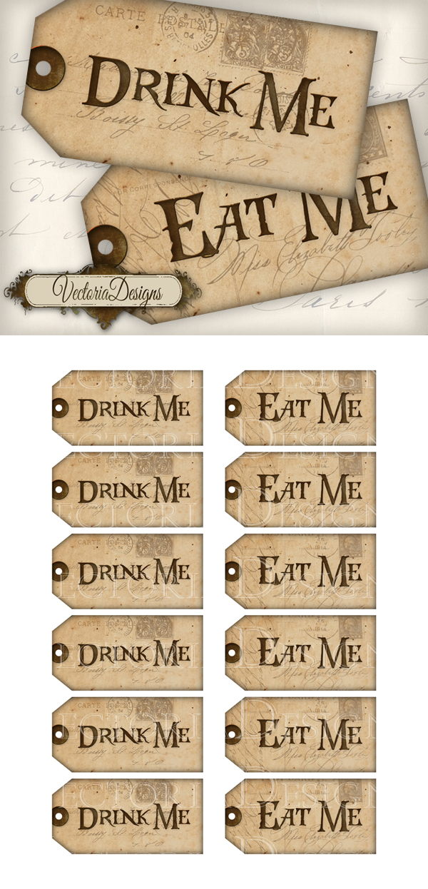 Printable drink me eat me tags by vectoriadesigns on for Alice in wonderland tags template
