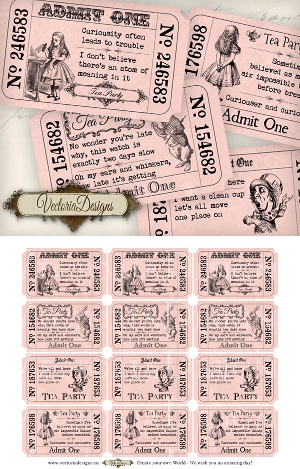 Pink Alice in Wonderland Tea Party Tickets by VectoriaDesigns
