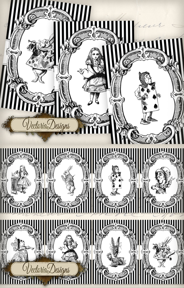 Printable Alice in Wonderland ATC images by VectoriaDesigns