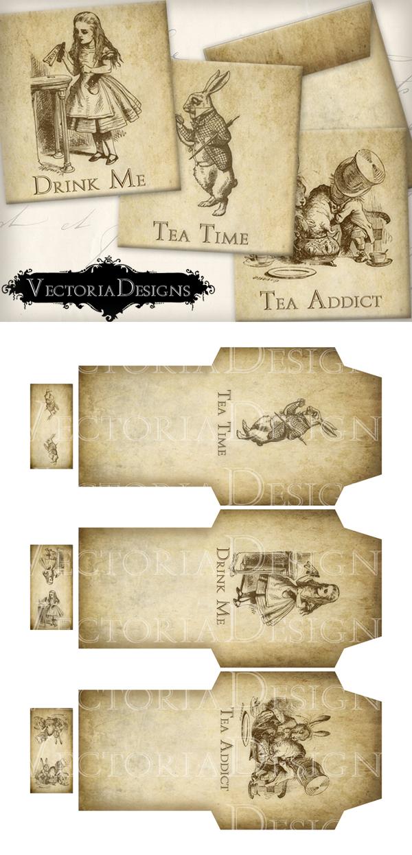Printable Alice in Wonderland Tea Bag Envelopes by VectoriaDesigns