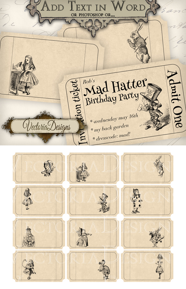 Printable editable Alice in Wonderland Tickets by VectoriaDesigns