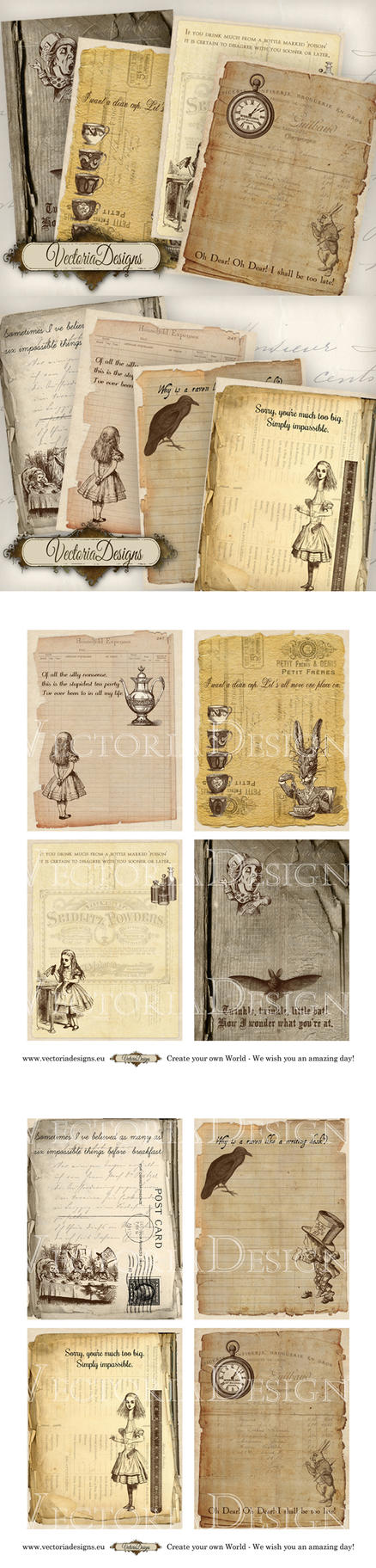 Printable Alice in Wonderland mini papers by VectoriaDesigns