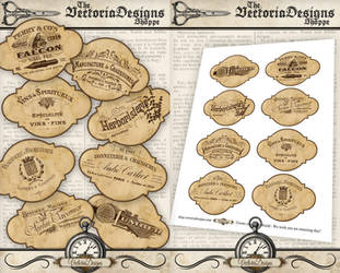 Trade Typography Labels by VectoriaDesigns