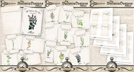 VDENVI0860 dried herbs envelopes DA promo by VectoriaDesigns