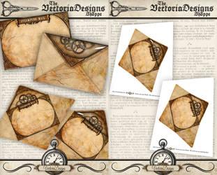 Printable Steampunk Envelope by VectoriaDesigns